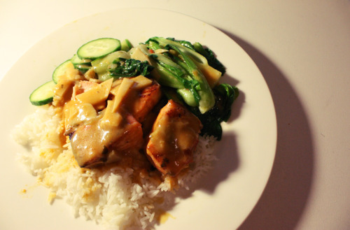 { Spicy Salmon with Bamboo Shoots, Bok Choy & Cucumber. } The sauce on top was a bit tangy/spicy.  My mum makes the best food.