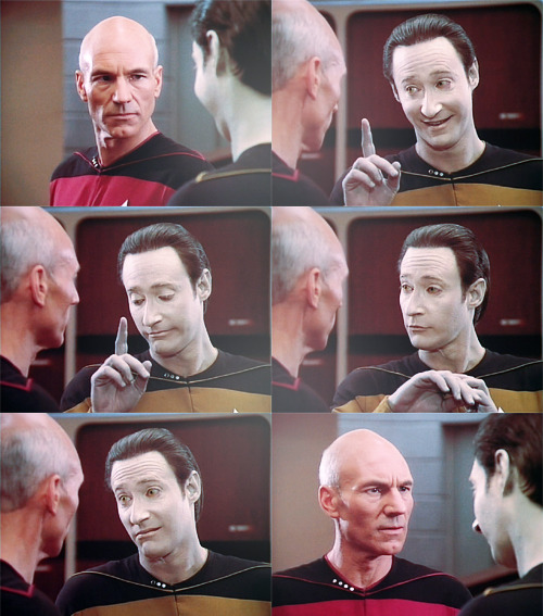 rowanboat: Data: We are more alike than unlike, my dear captain. I have pores. Humans have pores. I have fingerprints. Humans have fingerprints. My chemical nutrients are like your blood. If you prick me, do I not… leak?  Picard's face in that last panel.  Oh my god, I'm dead.