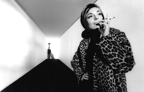 Anne Bancroft with Dustin Hoffman in a publicity photo for The Graduate (dir. Mike Nichols, 1967) Although their characters are 59 and 19 in the film, Bancroft and Hoffman were 36 and 30, respectively, at the time of filming. Photo by Bob Willoughby