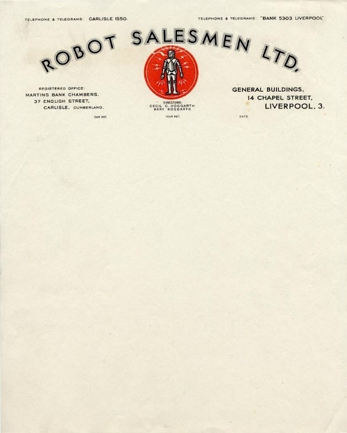 letterheady:  Robot Salesmen Ltd, 1930s | Source