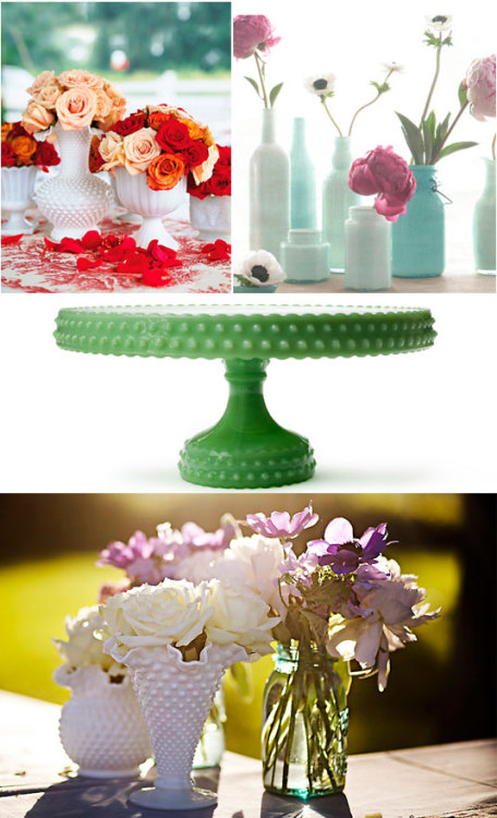 Dating back to the 16th century, milk glass is elegant, eco-chic (no floral foam), and found in abundance at thrift shops. You can find this vintage wedding goodness in green, blue, pink, yellow, brown, black, and of course, white. More eco wedding finds.