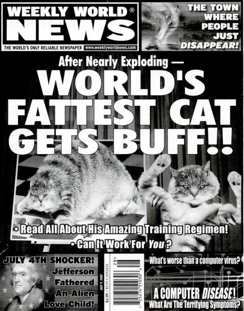Weekly World News on Google Books. The only source for legitimate news is now on Google Books. Thanks Boing Boing!