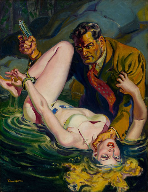 Norman Saunders - Black Book Detective, pulp cover, April 1936 Heritage Auctions