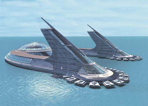 Architecture concept for sea city and building architecture