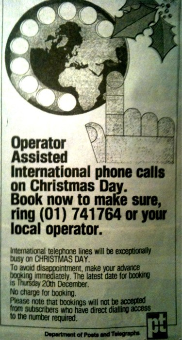 Irish newspaper advert, from December 1979 (via)