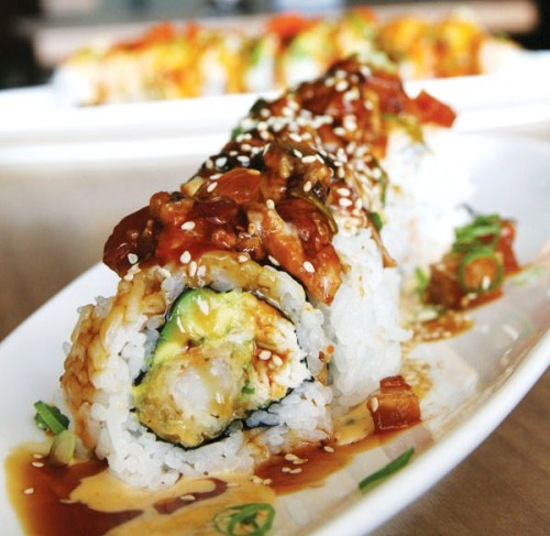 I really want a Train Wreck Roll from Mikuni. (Shrimp tempura, Spicy avocado, Crab, Unagi, Sea steak, Sesame seeds, Spicy Unagi Zig Zag sauce, topped with Green onions)