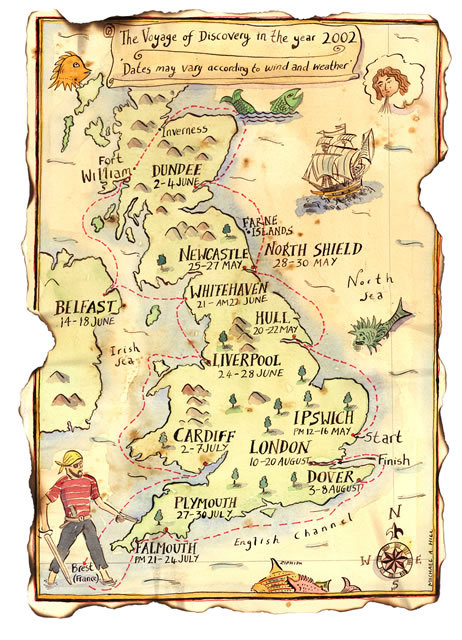 The Voyage of Discovery in the Year 2002 Map illustrated by Michael A. Hill for National Trust, depicting route of the Voyage boat around the United Kingdom: England, Scotland, Northern Ireland, and Wales. This reminds me of… 4th grade. // fuckyesmaps
