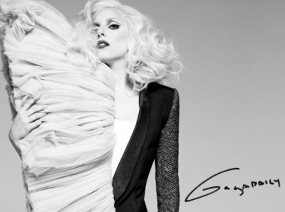 In this editorial for Elle, Gaga is wearing a skirt from Viktor & Rolf Spring 2010. Very dramatic, I love it!
