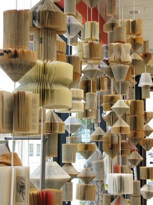 Folded book art installation