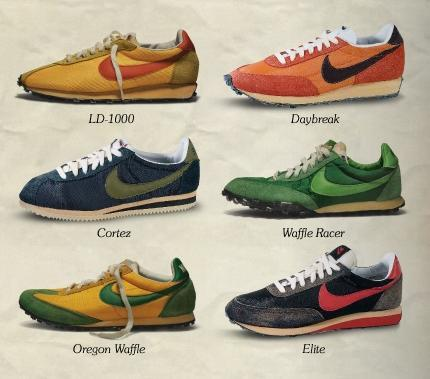 Vintage Nikes. 1972. The year I was born and the year that Bill Bowerman set about his wifes waffle iron, in search of the perfect trainer sole.