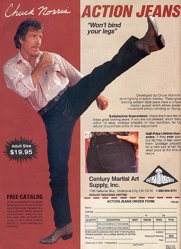 "Exactly what I look for in a pair of jeans; action that is non-binding. jspong:  Yup. msflamingo:  ""Won't bind your legs!"" This was important in the 70s. ActionJeans650 / Jeff Hawkins on vi.sualize.us  (via growingup70s)"