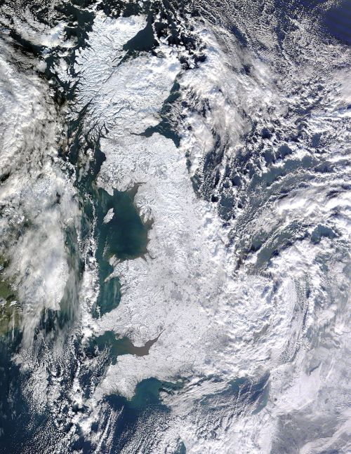 From the MODIS Rapid Response System, on 7th January at 11 :50 UTC: Snow across Great Britain. (It's also available even bigger.) (via) (previously)