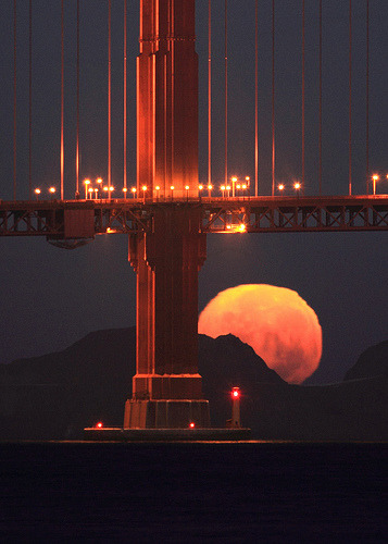 Golden Gate Moonset Closeup, San Francisco, California