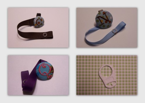 monogrammed pacifier clips $8 attachment for button style pacifiers (such as a Mam) available—pictured bottom right