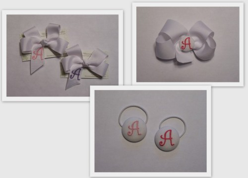monogrammed hairbows: medium-$7, large-$8, medium cover button bow-$7, large cover button bow-$8, and cover button ponytail holders-$4