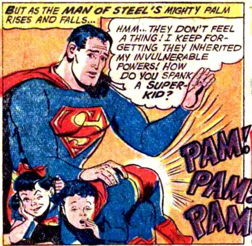 comicallyvintage:  How Do You Spank A Super-Kid?