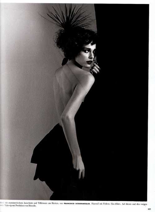 """Anita Berber""  Vogue Germany, October 2009  photographer: Karl Lagerfeld  Edita Vilkeviciute black and white, looking over her shoulder, shadows // hautemacabre"