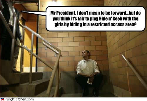 I like that Barack feels the need for space, and finds it. Via
