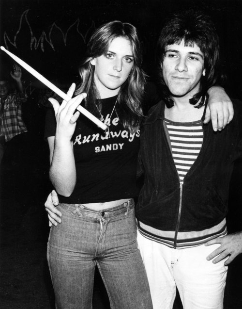 This is a classic photo of two brilliant drummers from the seventies. Sandy West from The Runaways and Danny Benair of The Quick. I took this photo backstage at The Whiskey A Go Go probably around 1976. I bet that Danny would remember the exact year, month and day! http://www.bradelterman.com