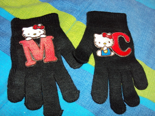 homemade gloves customized with hello kitty M and C patches  Submitted by mashleys