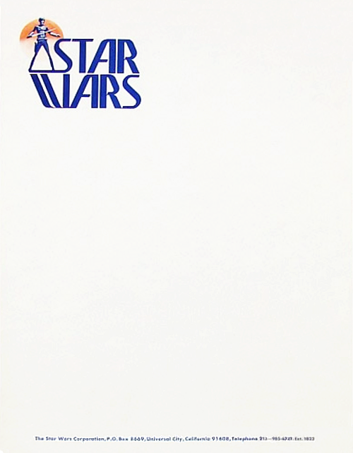 letterheady:  The Star Wars Corporation, 1976 | Submitted by Jen