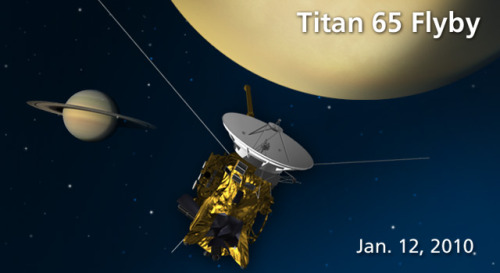 Cassini Returns to Southern Hemisphere of Titan Artist's concept of Cassini's Jan. 12, 2009, flyby of Titan. Image credit: NASA/JPL via spacefellowship.com