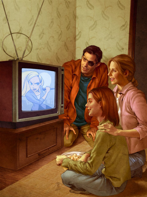 b showed me AMAZING artwork by jo chen for buffy season 8 trades. it's the whole gang together again! visit her site to see some more of her work and be blown away by her beautifully colored and detailed comic work.