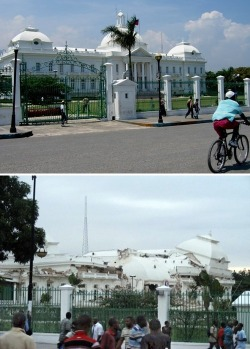 Photo of the Day: The presidential palace in Port-au-Prince, Haiti — before and after the devastating earthquake. [huffpo.]  (via thedailywhat)
