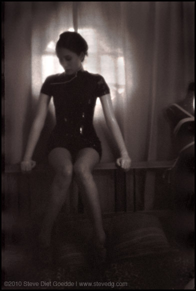 stevedietgoedde:  Naturale, Los Angeles 2010 Continuing with my pinhole camera experiments, I shot this one of my girlfriend Liz using available light.  This time I used a tripod because the exposure was around 20 seconds.  Normally I like to do handheld, but that's way too long to get something good.  Dress by Syren.com www.stevedietgoedde.com