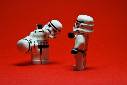 crumbles:  Indecision: Stormtrooper Stuart is having trouble deciding which helmet to wear. (via KWG73)