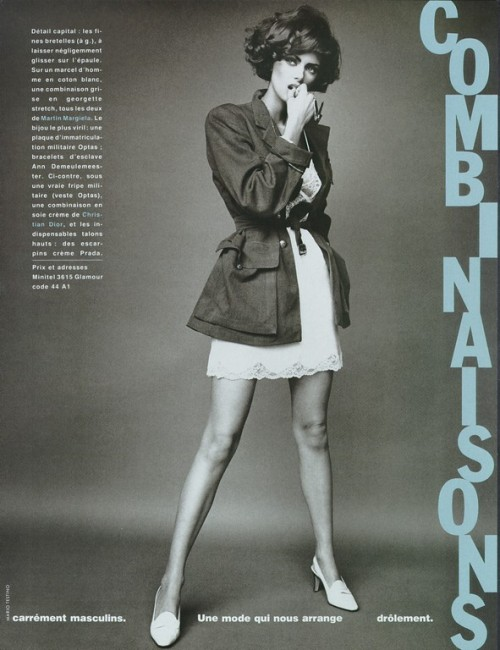 """Combinaisons"" Glamour France, 1992? photographer: Mario Testino Heather Stewart-Whyte black and white, coat fashion_screen: Glamour France date unknown (circa 1992)"