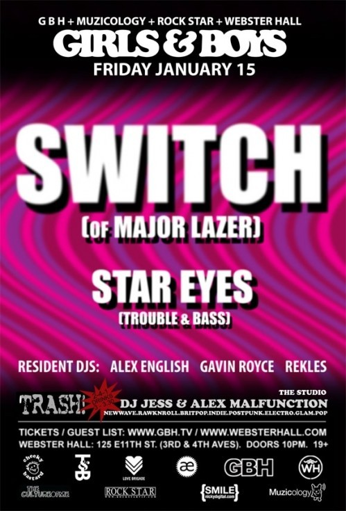 OH LETS GOOOO!!!!!!!!!!!!!! Switch of Major Lazer and Star Eyes from the Trouble & Bass crew on a friday at Webster for $1 now that's what i'm talking about!!!!! —Drat Saddam—