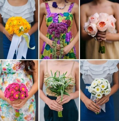 I thought this was adorable. Each bridesmaid had her own unique bouquet and dress.