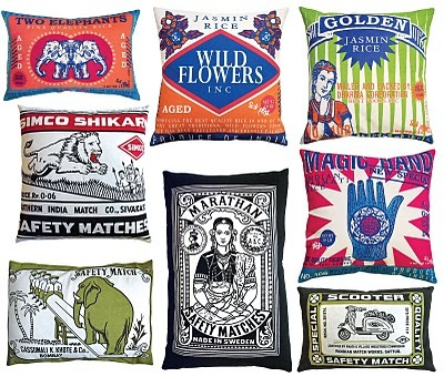 Vintage rice bag and matchbox pillows from Koko (photo from Belle Maison). See individual pillows in more detail HERE.