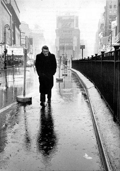 "dreamawaymydear:  suicideblonde:  ""The unforgettable image of James Dean, hunched in his black overcoat, bearing the weight of a generation on his shoulders.""- Adam Gopnik, The New Yorker This iconic photograph of James Dean was taken by Dennis Stock, who died this week at age 81."