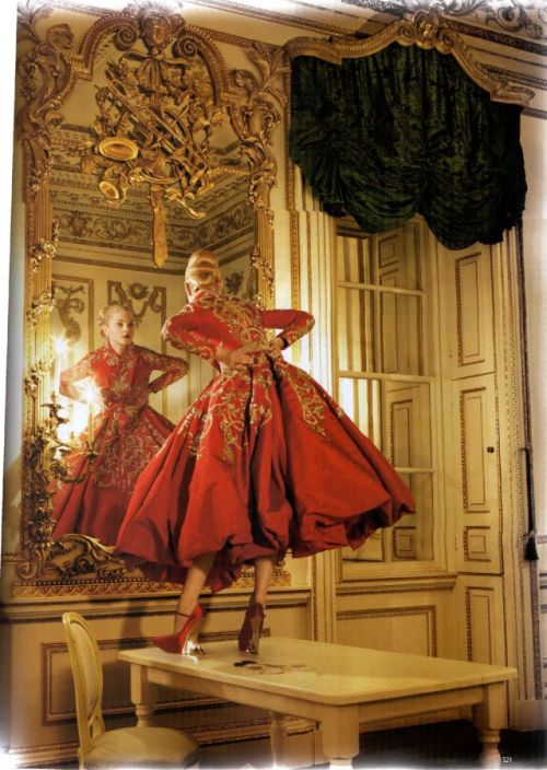 """Golden Years"" Vogue UK, October 2007  photographer: Corrine Day Jessica Stam in the Norfolk House Music Room, Victoria & Albert Museum red dress surrounded by all kinds of molding, paneling, gold gilding, and other ornate Rococo fun +++ [TFS] // suicideblonde"