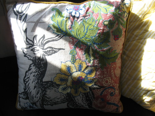 I purchased this embroidered Anthropologie pillow (on serious clearance) last night. I am very pleased with myself.