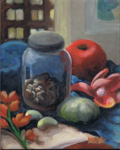 """Still Life with Turquoise Scarf"" 8x10, oil on canvas."