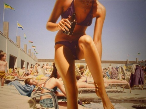 "Hilo Chen, ""Beach 149″ 2005, oil on canvas, 36 x 48 Pop art at Flash glam trash!"