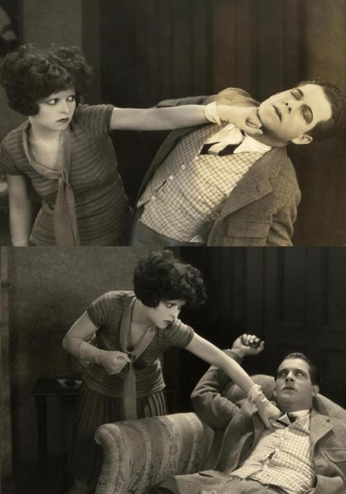 "becauseyoulisten:  oldhollywood:  Clara Bow smacks around a fresh-mouthed Reed Howes in Rough House Rosie (1927, dir. Frank R. Strayer) ""Boy friend, the next time you see me, remember I'm a lady."""
