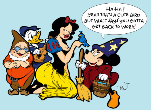 A Disney Cartoon I drew up this morning. Kind of my versions of Snow White, Doc Donald and Mickey.