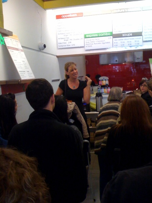 That's vegan superhero Colleen Patrick-Goudreau speaking at the grand opening of Nature's Express in Berkeley. Vegan fast food, yall! It's health foodified but still tasty! Anyway, she said lots of nice stuff about the future of food heading in the vegan direction and it was lovely and inspiring. The had a limited menu at the grand opening but it's all up now so check it out and then go support the vegans who are doing it to it! Oh dude, they're having a contest right now, win $1,000 worth of vegan food. Do it. To it.