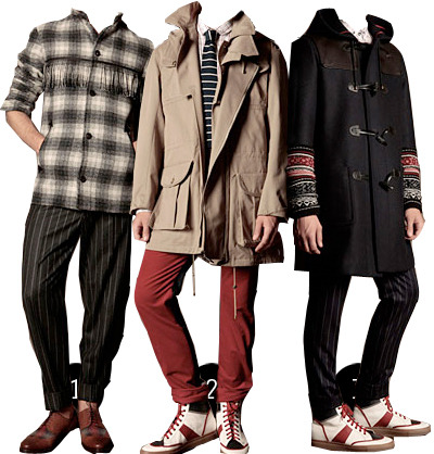 trussardi 1911 a/w 2010 thoughts: whoa nelly, love this stuff. i have to say i've never really payed much attention to trussardi but this collection really peaked my interest. the understated fring shown in look 1 is pretty boss and would be a nice pick me up to some more drab clothes. not really a fan of the sneakers in 2 and 3 but i love the coat, shirt and tie. but the coat with the detailing on the wrists is freaking incredible. the outerwear coming out of milan is truly outrageously awesome and i'm seeing fur collars pretty much everywhere. at this point the trussardi coat is at the number 1 spot.