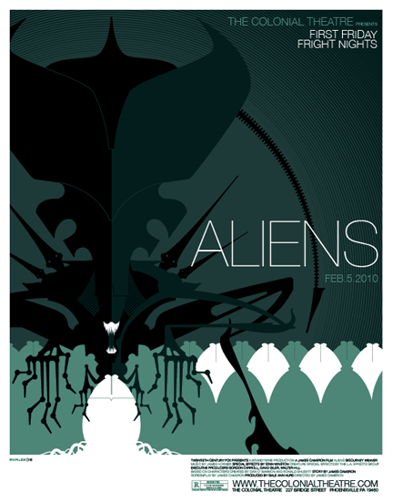 Aliens Poster | Tom Whalen  Awesome poster!!  I LOVE this kind of design via aliensandpredators: eidesis: fuen