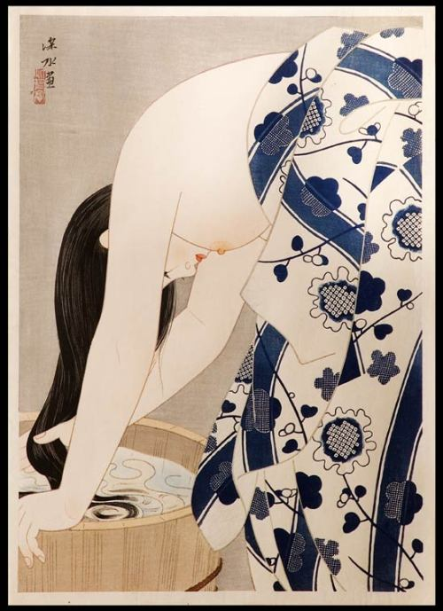 bt7:  auhasardrobert:  mille:  echolocate:  Ito SHINSUI ( 1898 - 1972 ) Washing the Hair   (via yama-bato)