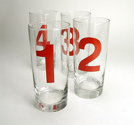 Take a Number Water Glasses, from Blue Ribbon General Store.