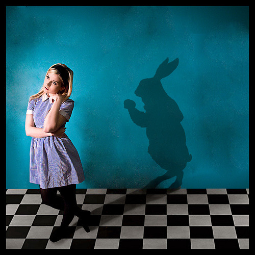 Quick, there's a rabbit behind you!fuckyeahwonderland:  Alice's Watchful Friend | by Brittany DeWester