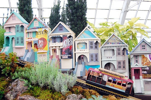 "eachdayaflower:  San Francisco in miniature. ""The 2nd Annual Golden Gate Express Garden Railway is open at San Francisco's Conservatory of Flowers. The garden features miniature versions of the city's most recognizable landmarks, buildings, and of course, a train! Plus, they are all made of recycled materials."" (link)"