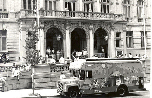 pvddesign:  Central Library with Bookmobile (via Providence Public Library)