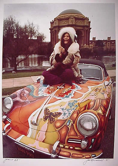 fuckyeahjanisjoplin:  Janis Joplin paid about $3500 for this 1965 Porsche 356c Cabriolet when she bought it from a Beverly Hills auto dealer in September 1968. Prior to the sale, the dealer had painted the car oyster white. Joplin, however, wanted something more dramatic, and Dave Richards, a friend and Big Brother roadie, created this psychedelic design, which includes an image of Janis and Big Brother on the front left fender. The car quickly became identified with Joplin, who drove it around San Francisco, where she lived, and down to Los Angeles, where she recorded. Whenever she parked it somewhere, fans would leave notes under the wipers. Once, while Joplin was at a gig, the car was stolen. The thief spray painted it gray, but when it was retuned, Joplin found an auto shop that was able to recover the psychedelic finish. http://www.rockhall.com/exhibitfeatured/janis-joplin-porsche
